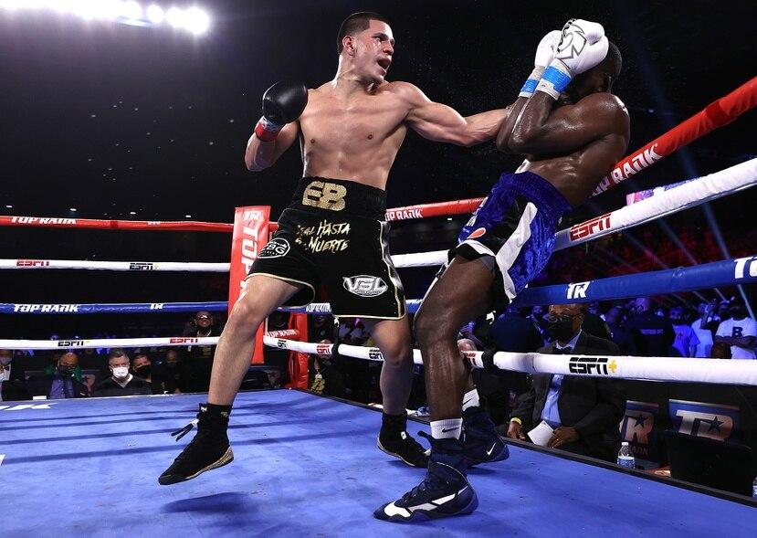 Edgar Berlanga en su última pelea contra Demond Nicholson el pasado mes de abril en Florida. El boricua ganó por decisión unánime.