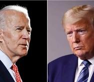 Fotomontaje de Joe Biden y Donald Trump. (AP)