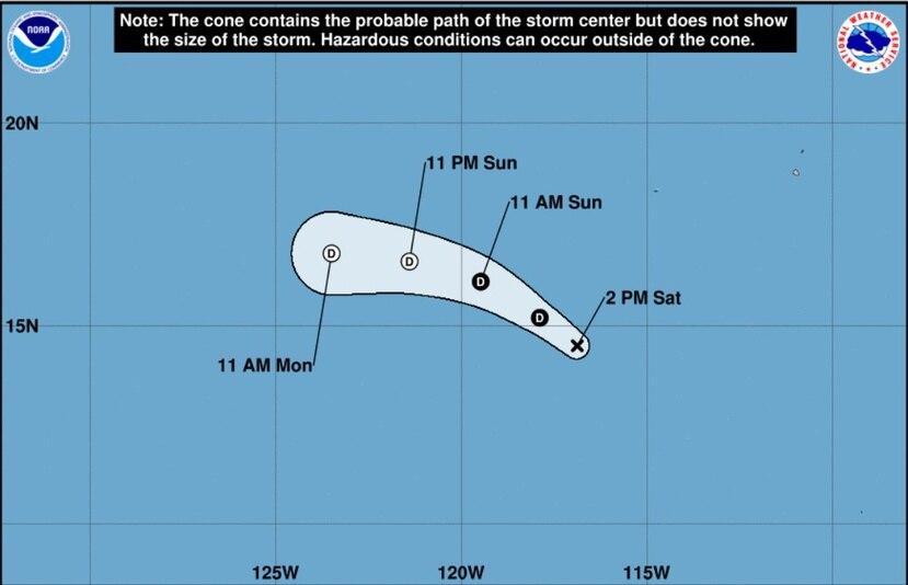 Se prevé que la tormenta pierda fuerza hasta un ciclón postropical la noche del domingo. (Captura NOAA)