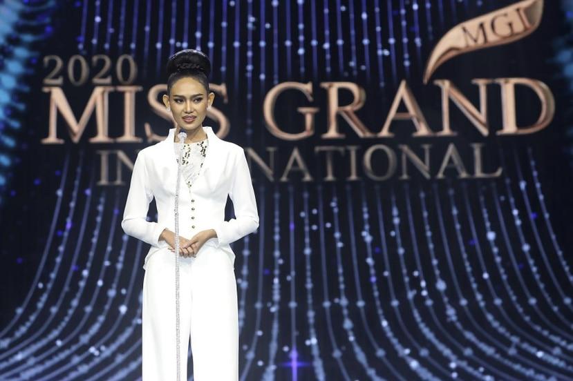 Han Lay, estudiante de la Universidad de Yangon, hizo los comentarios en contra del gobierno de Birmania en el certamen de Miss Grand International celebrado en la capital tailandesa, Bangkok.
