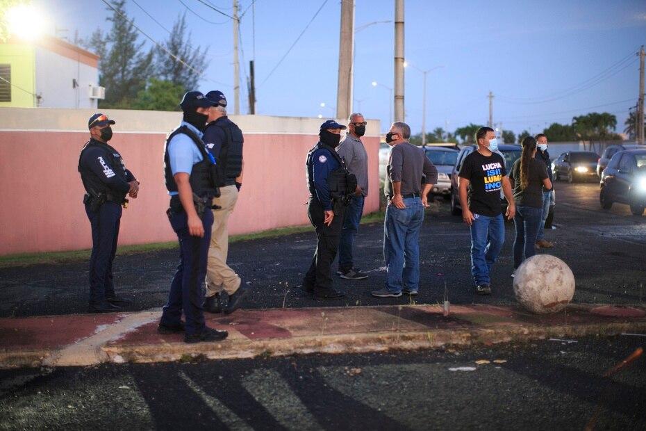 En el lugar había agentes de la Policía apostados desde tempranas horas.