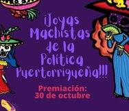 """Promoción de la iniciativa de premios para """"Joyas Machistas"""" a cargo del Proyecto Matria."""