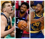 De izquierda a derecha, Nikola Jovic, Joel Embiid y Stephen Curry, quienes están en las conversaciones para ganar el premio de Jugador Más Valioso de la NBA.