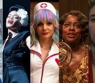 De izquierda a derecha:  Frances McDormand, Andra Day, Carey Mulligan, Viola Davis y Vanessa Kirby, candidatas al premio Oscar en la categoría de Mejor Actriz.