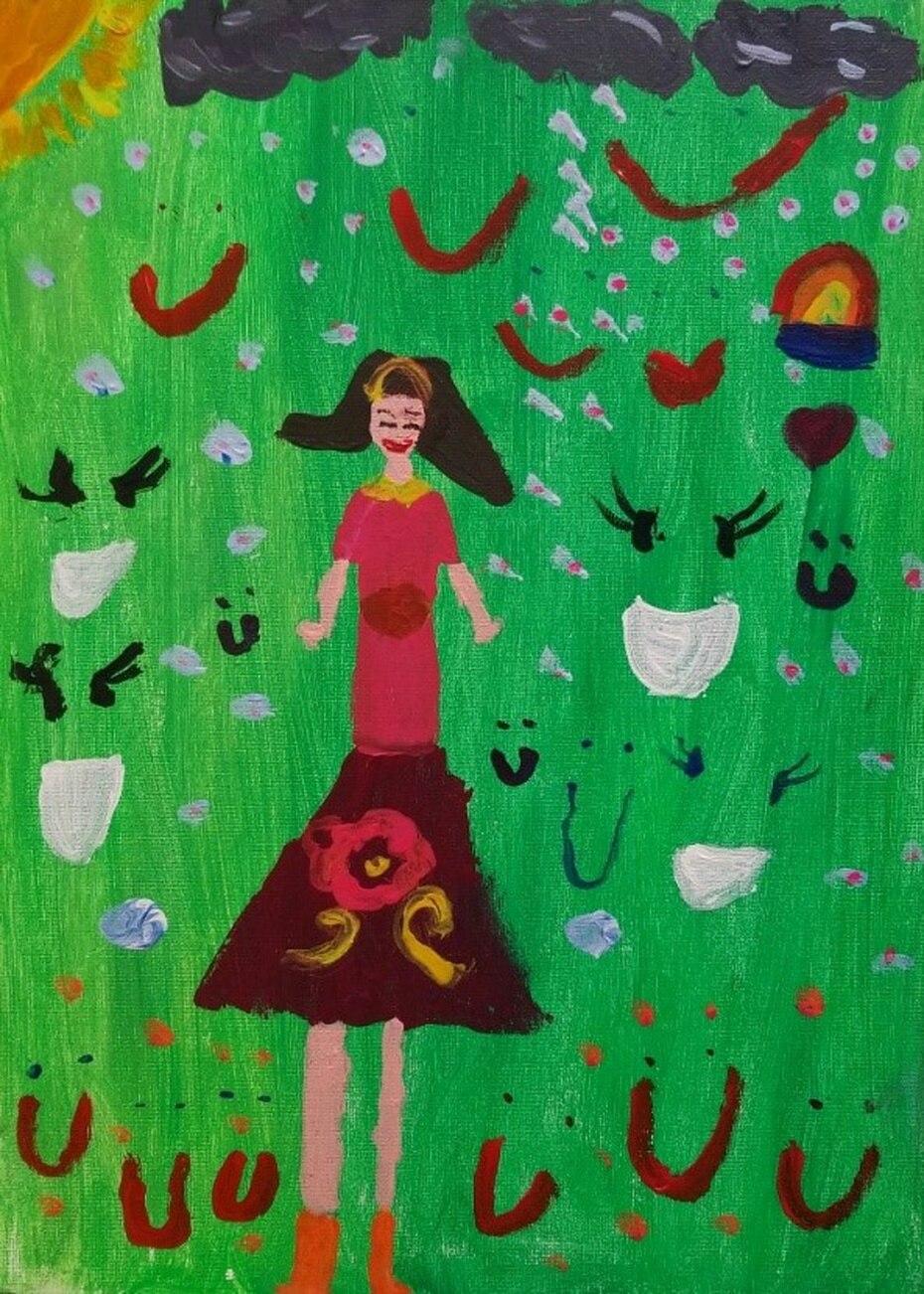 """""""Esta soy yo, una niña feliz"""", dibujo de Elena Fabrizi Bauza, estudiante de tercer grado de la Escuela Elemental de la UPR."""
