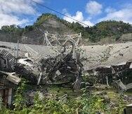 La foto muestra uno de los agujeros causados por el colapso total del domo gregoriano y toda su estructura de apoyo el pasado 1 de diciembre de 2020.