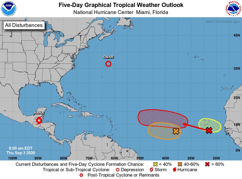 Mapa del Centro Nacional de Huracanes que muestra las zonas donde tres ondas tropicales tendrían las condiciones favorables para desarrollarse.