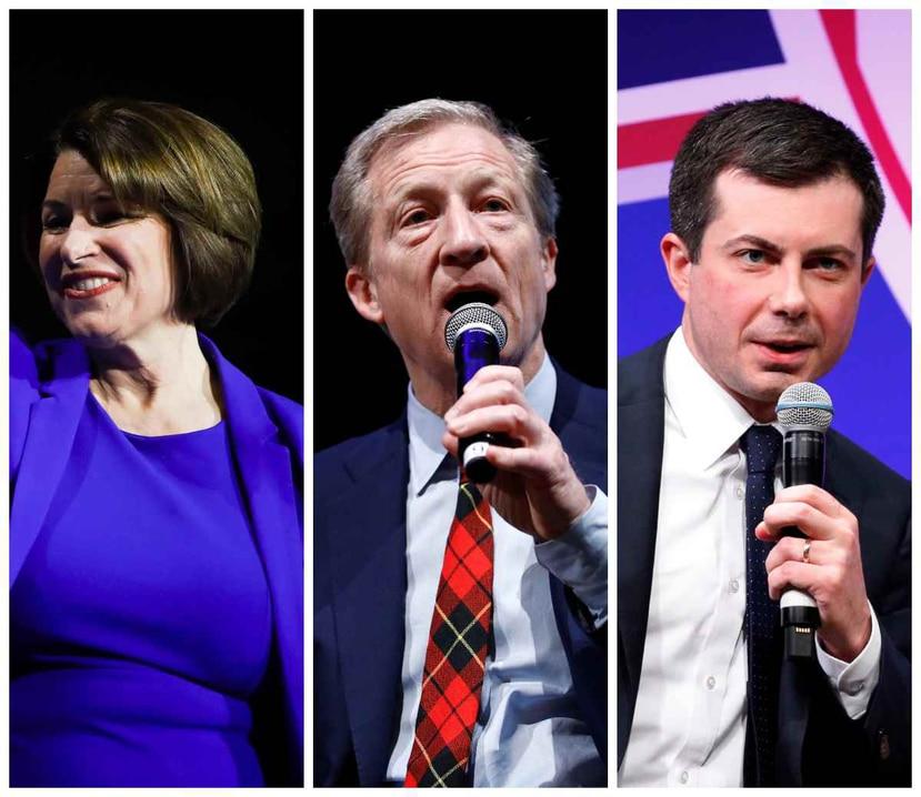 Amy Klobuchar, Tom Steyer y Pete Buttigieg, precandidatos presidenciales demócratas. (AP)