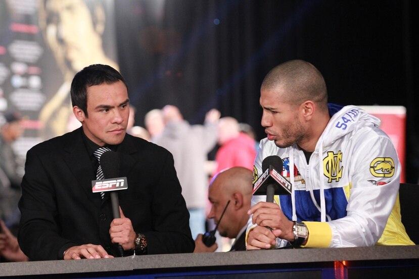 Miguel Cotto (derecha) compartió con el mexicano Juan Manuel Márquez durante su pelea contra Antonio Margarito en Nueva York en el 2011.