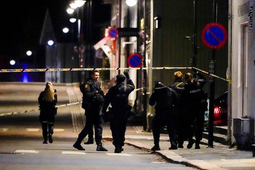 Policías en el lugar de un ataque con arco y flechas que dejó varios muertos y heridos en Kongsberg, Noruega.
