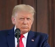 El presidente Donald Trump escucha una pregunta durante una conferencia de prensa en la Casa Blanca el lunes, 7 de septiembre.
