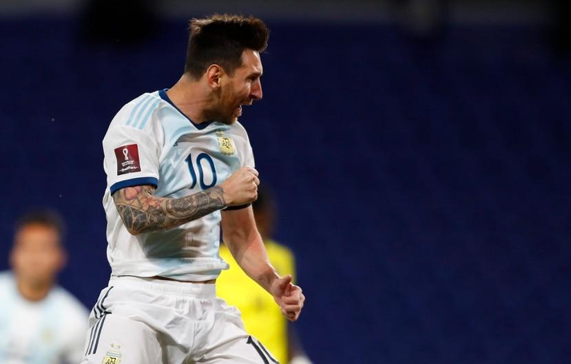 Lionel Messi, de Argentina,  celebra su gol contra Ecuador en el primer encuentro las eliminatorias sudamericanas para Catar 2022.