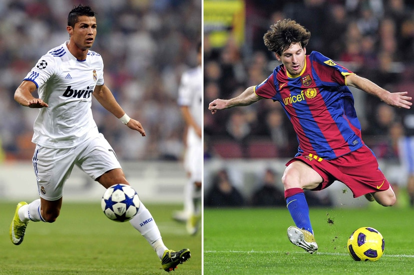 Lionel Messi (izq.) y Cristiano Ronaldo competirán en su cuarta Copa Mundial con sus respectivas selecciones. (AFP / Pierre-Philippe Marcou - Josep Lago)