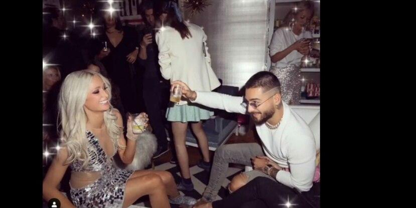 Maluma fue invitado a la fiesta de cumpleaños de Paris Hilton. (Instagram)