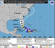 Mapa de trayectoria ajustado en el boletín de las 11:00 p.m. para el huracán Elsa, el 3 de julio de 2021.