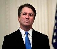 El magistrado del Tribunal Supremo de Estados Unidos, Brett Kavanaugh, durante un evento en la Casa Blanca. (AP/Susan Walsh)