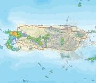 Imagen de radar que muestra las condiciones del tiempo en la zona oeste de Puerto Rico.