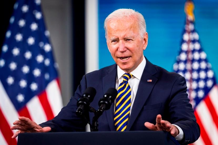 El presidente de Estados Unidos, Joe Biden, durante una intervención pública acerca del proceso de vacunación contra el covid-19 en Washington, D.C.