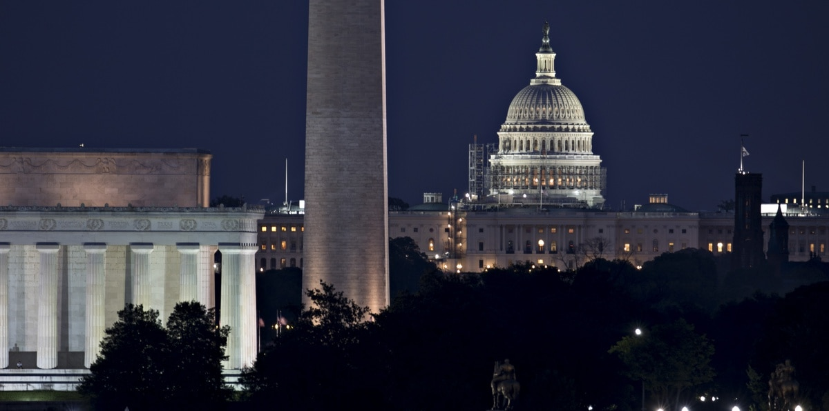 The U.S. Capitol building, from right, Washington Monument and Lincoln Memorial stand in Washington, D.C.