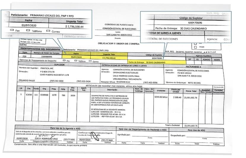 La orden de compra fue hecha por la CEE el 3 de julio, pero no fue hasta el 7 que fue remitida a la empresa Printech.