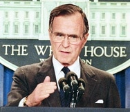 FILE - In this Thursday, May 11, 1989, file photo, President George H.W. Bush briefs reporters at the White House in Washington. Former President George H.W. Bush was taken to a Houston hospital after experiencing a shortness of breath on Tuesday, Dec. 23, 2014. (AP Photo/Doug Mills, File) -----