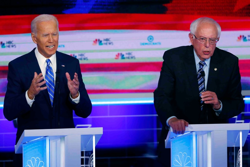 Bernie Sanders y Joe Biden son los únicos dos precandidatos a la presidencia que quedan del Partido Demócrata. (AP)