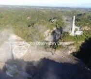 Parte del radiotelescopio destruido.