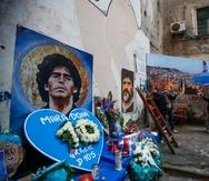Tributo a Diego Maradona en Nápoles, Italia.