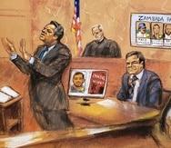 """Ilustración de archivo del juicio contra """"El Chapo"""". (EFE/Jane Rosenberg)"""