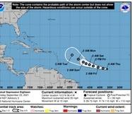 La trayectoria pronosticada para la depresión tropical 18 a las 5:00 de la mañana del jueves, 23 de septiembre de 2021.