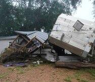 Daños causados por las inundaciones causadas por fuertes lluvias en McEwen, Tennessee, Estados Unidos, que han dejado decenas de personas desaparecidas, el 22 de agosto de 2021.