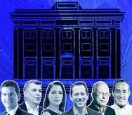 """Los candidatos que aspiran a la gobernación de Puerto Rico: Pedro Pierluisi, Carlos """"Charlie"""" Delgado Altieri, Alexandra Lúgaro, Juan Dalmau, César Vázquez y Eliezer Molina."""