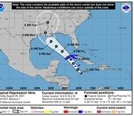Mapa que muestra la trayectoria que llevaría la depresión tropical 9, según el boletín del Centro Nacional de Huracanes al mediodía del 26 de agosto de 2021.