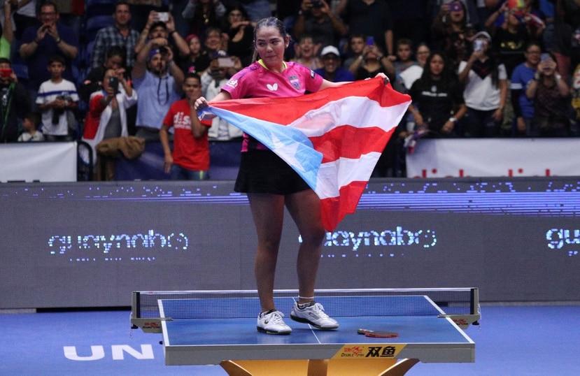 Adriana Díaz, número 20 en el escalafón mundial de la ITTF, tras vencer a la estadounidense Lily Zhang.