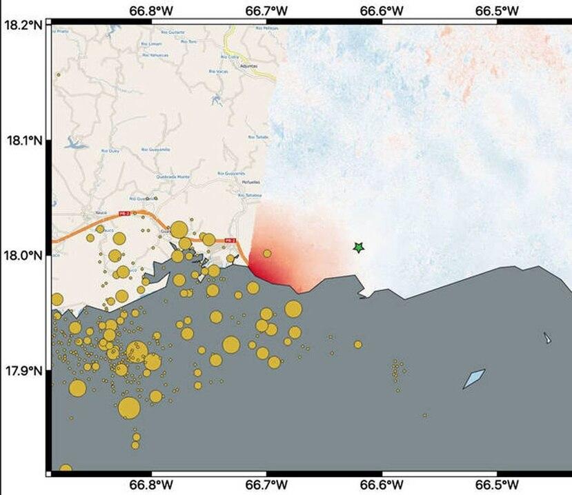 El mapa muestra los cambios en el terreno, o desplazamiento, en los dos tercios del este de Puerto Rico luego del terremoto de magnitud 6.4. (NASA)
