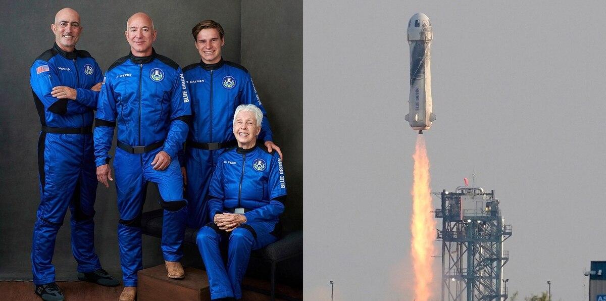 Mira el momento en que Jeff Bezos voló al espacio y quiénes hicieron historia