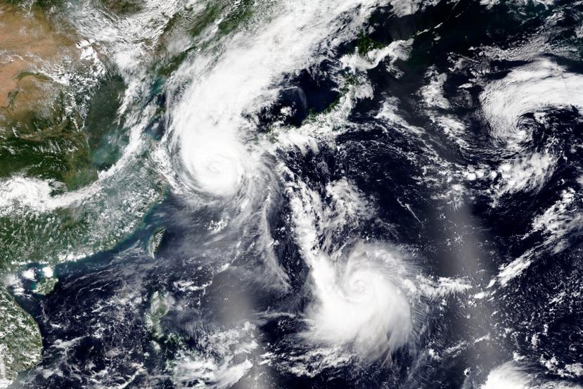 Imagen de satélite que muestra el Tifón Maysak sobre Corea del Sur.