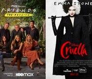 """De izquierda a derecha, """"Mike Tyson: The Knockout"""" un documental de dos partes que se estrena hoy en ABC, """"Friends: The Reunion"""" de HBO Max que se estrena el 27 de mayo y """"Cruella"""" una película disponible para alquilar en Disney+ el viernes, 28 de mayo."""
