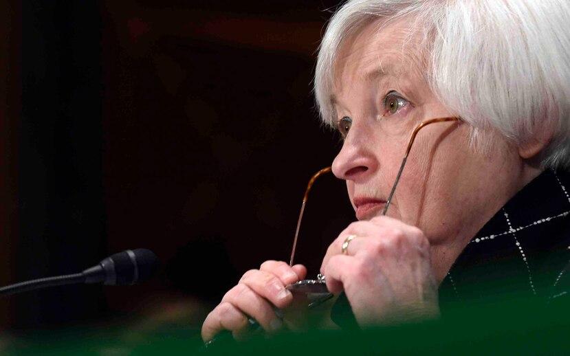 Janet Yellen, presidenta de la Reserva Federal ante una audiencia en el Congreso. (AP)