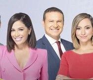 """Parte del elenco del programa televisivo """"Despierta América"""": Carlos Calderón, Karla Martínez, Alan Tacher y Satcha Pretto."""