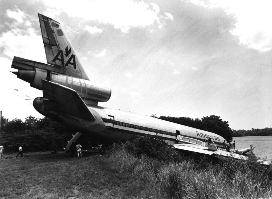 Accidente con avión de American Airlines que se salió de la pista, el 27 de junio de 1985.