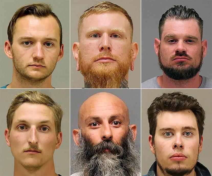 Estas fotografías muestran desde arriba a la izquierda a Kaleb Franks, Brandon Caserta, Adam Dean Fox; abajo a Daniel Harris, Barry Croft y Ty Garbin, acusados de planear secuestrar a la gobernadora de Michigan, Gretchen Whitmer, se informó el 17 de diciembre de 2020.