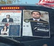 Un carro con propaganda para Ricardo Rosselló como cabildero de la estadidad.