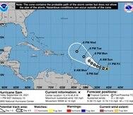 El boletín de las 11:00 p.m. colocaba al huracán Sam en la latitud 12.4 grados Norte, longitud 45.9 grados Oeste.