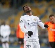 Vinicius Júnior del Real Madrid durante el partido contra Shakhtar Donetsk por la Liga de Campeones.