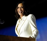 FIL - In this Nov. 7, 2020, file photo Vice President-elect Kamala Harris speaks in Wilmington, Del. Harris will make history Wednesday, Jan. 20, 2021, when she becomes the nation's first Black, South Asian and female vice president. (AP Photo/Andrew Harnik, File)