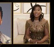"""Taylor Simone Ledward Boseman acepta el Globo de Oro al mejor actor en una película de drama en nombre de su difunto esposo, Chadwick Boseman, por su trabajo en """"Ma Rainey's Black Bottom""""."""
