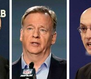 De izqueirda a derecha aparecen fotos de archivo de los comisionados de las Grandes Ligas, Rob Manfred, la NFL, Roger Goodell, y la NBA, Adam Silver. (AP)