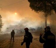 Los bomberos operan durante un incendio forestal en la aldea de Siderina a unas 34 millas al sur de Atenas, Grecia.