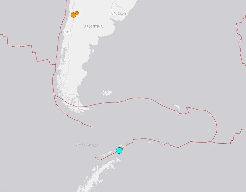 Gráfica del USGS de sismos en Antártida y la zona central de Chile